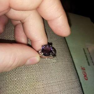 Rhodium plated purple amethyst size 7
